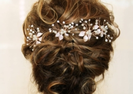 Rear View of Bridal Updo Light Brown Hair with flowers Las Vegas Mobile Beauty