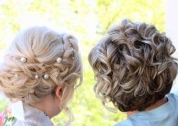 Rear View Mother Daughter Wedding Day Updo Hair Style Las Vegas Mobile Beauty
