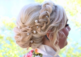 Side View of Bride Blonde Hair Updo with Lake in background Las Vegas Mobile Beauty