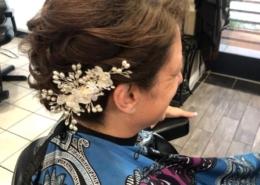 Side View of Updo Bridal Party with Floral Arrangement Las Vegas Mobile Beauty