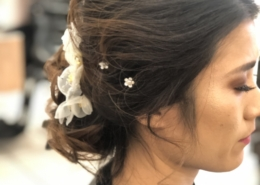 Updo Bridal Hair Style Brown Hair with White Flowers at Las Vegas Mobile Beauty