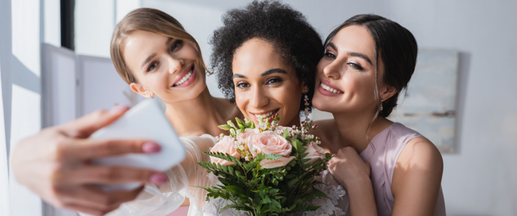 Selfie images of Bridal Party with Flowers