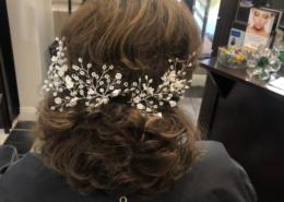Short Auburn Bridal Hair Style With Floral Las Vegas Mobile Beauty